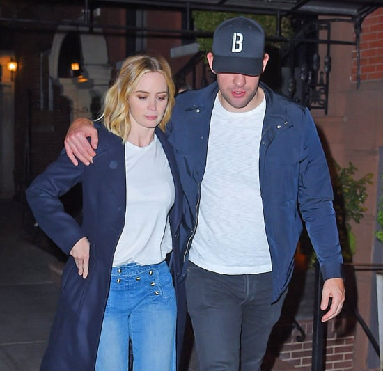 Emily Blunt and John Krasinski have dinner at Jennifer Aniston and Justin Theroux's apartment in New York