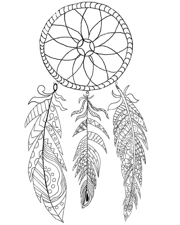 Get The Coloring Page Dreamcatcher 50 Printable Adult