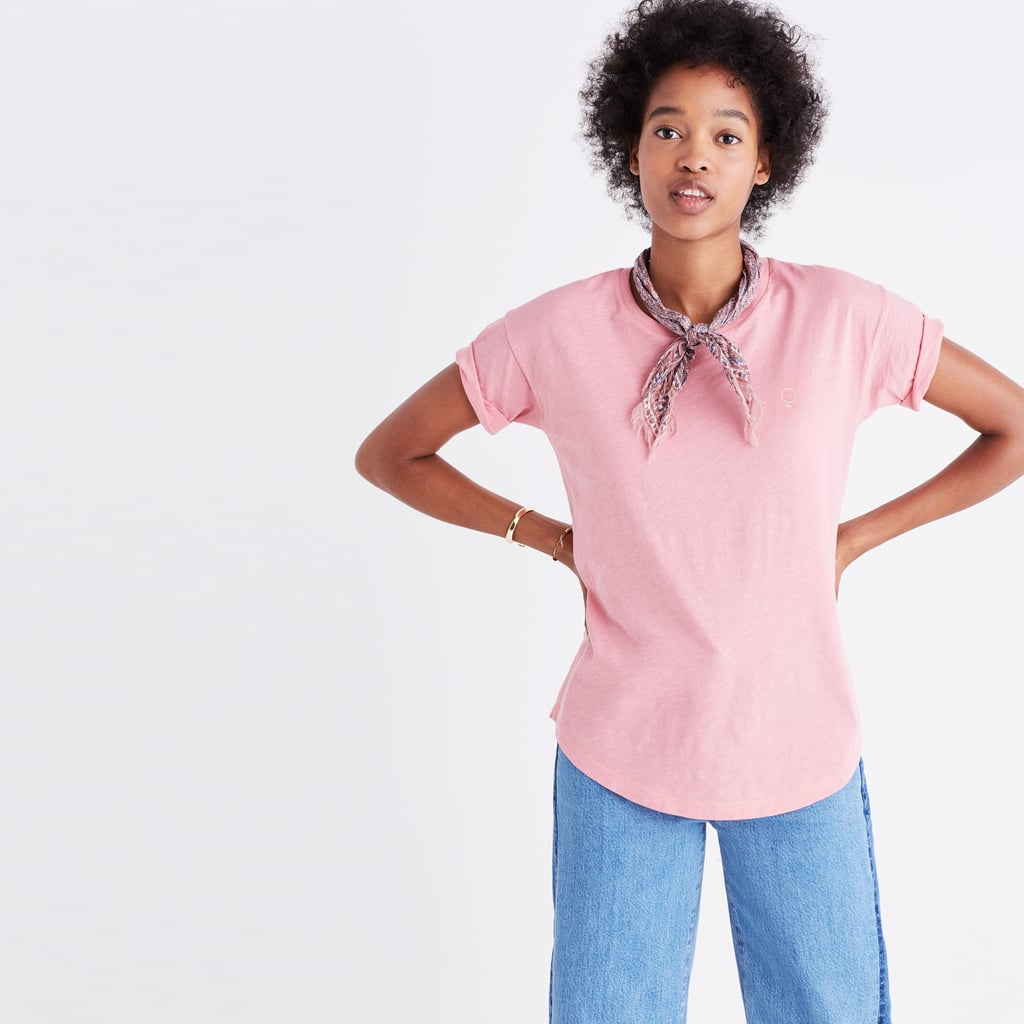 The Madewell x Girls Inc. Whisper Tee ($35) is embroidered with a tiny female sign with 25 percent of the retail price from purchase going to Girls Inc., an organization that aims to empower women.