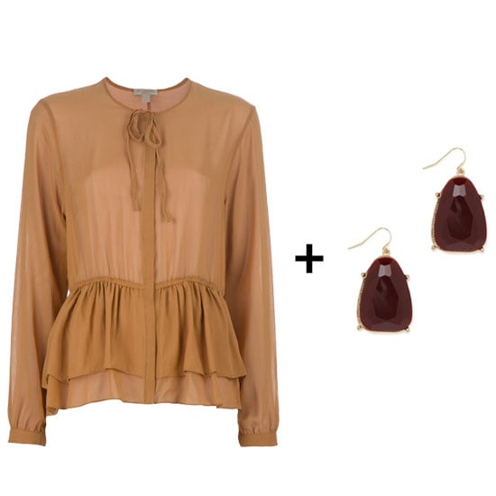 The easiest way to take on a color combo is with accessories. We're loving the festive approach — just in time for the holidays — to this blouse and earring coordination. The girlie peplum blouse gets the polished finish it needs for statement burgundy earrings.  Burberry London Tiered Blouse ($421) + BaubleBar Burgundy Gem Drops ($24)