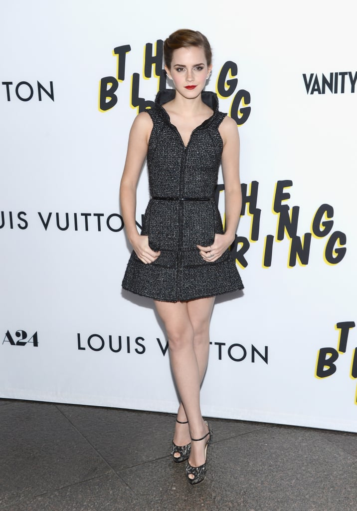 The Bling Ring's LA premiere was the reason for Emma Watson's chicest look yet. We loved the combination between her tweed Chanel dress and embellished peep-toes.