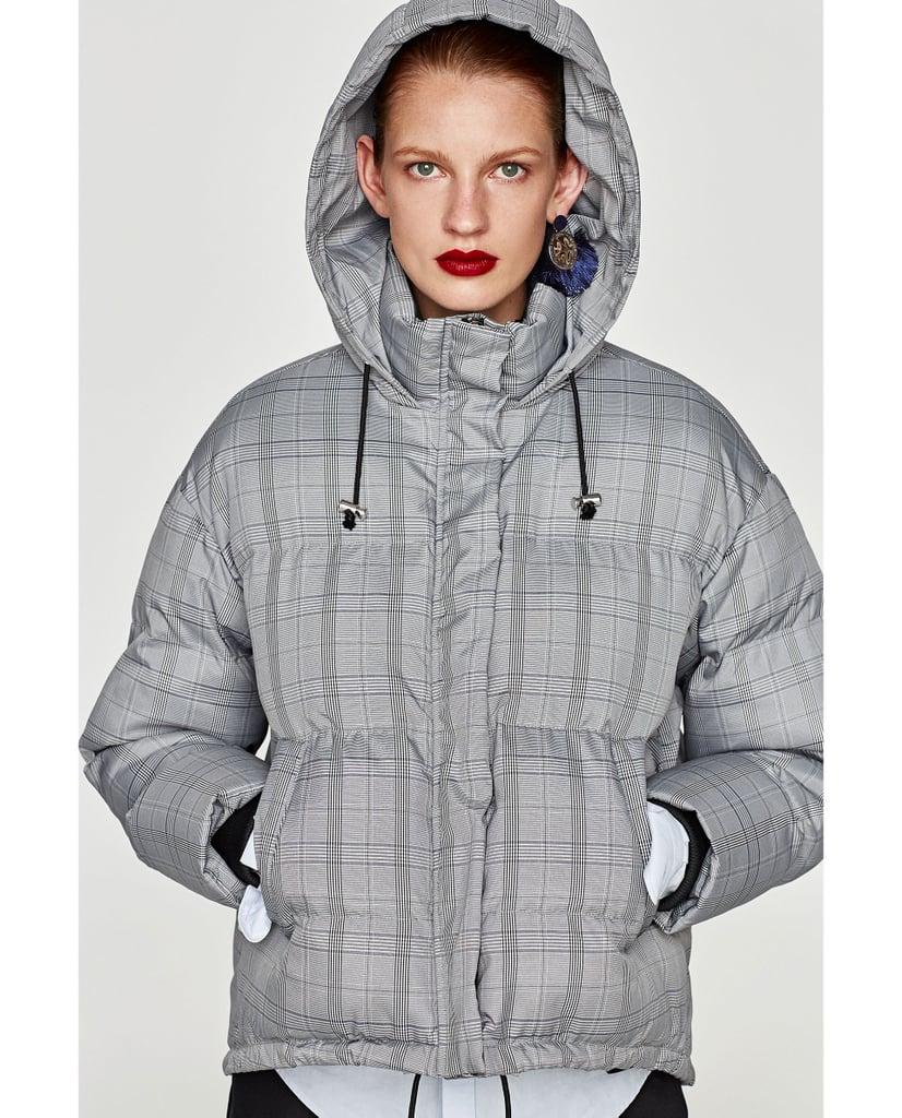 Zara Checked Puffer Coat