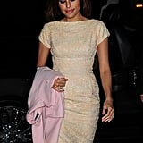 Eva Mendes wore a short pink and silver dress to appear on The Daily Show With Jon Stewart in NYC.
