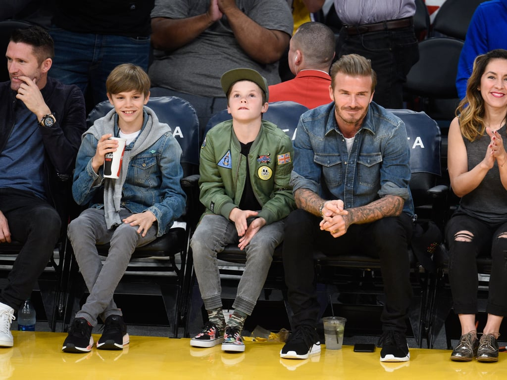 David Beckham With Sons at Lakers Game