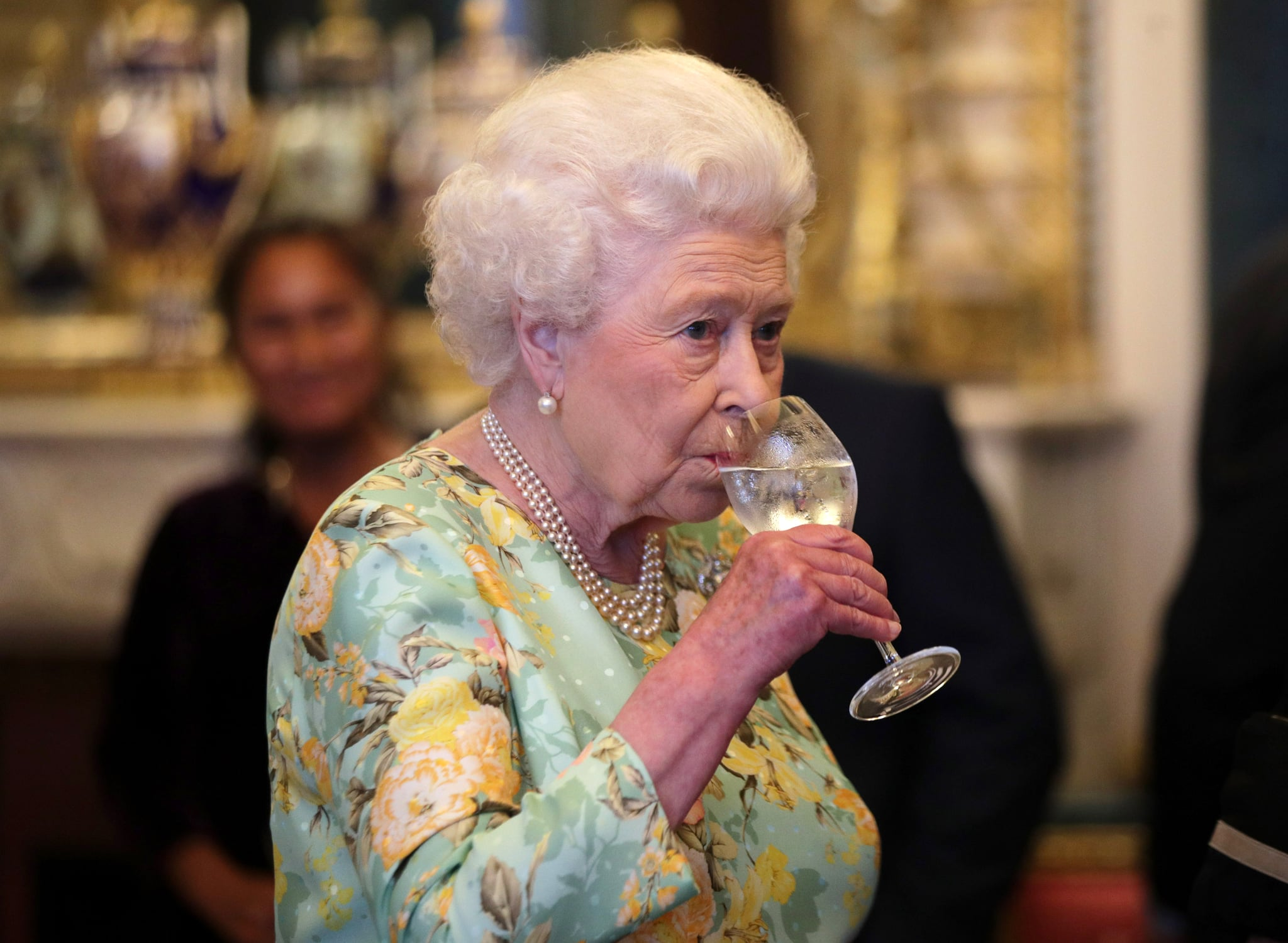 Britain's Queen Elizabeth II attends a reception for the winners of The Queen's Awards for Enterprise 2017 at Buckingham Palace in central London on July 11, 2017. The Queen's Awards for Enterprise are the UK's most prestigious awards for business success. This year's Awards recognise the success of businesses in a wide variety of sectors. Their work ranges from pioneering healthcare and green energy solutions, to digital marketing and laser technology. / AFP PHOTO / POOL / Yui MOK        (Photo credit should read YUI MOK/AFP/Getty Images)