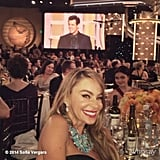 "Sofia Vergara snagged a picture with her ""idol,"" Jim Carrey. Source: Instagram user sofiavergara"