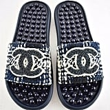 Chanel 18S Black Navy Blue Tweed CC Logo Mule Pool Slide