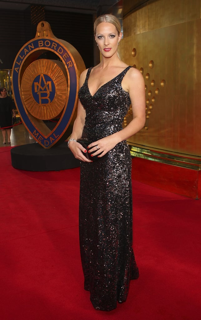 Jacqui Morris (Cameron White's better half) went for all out glamour with this floor lengthed frock.