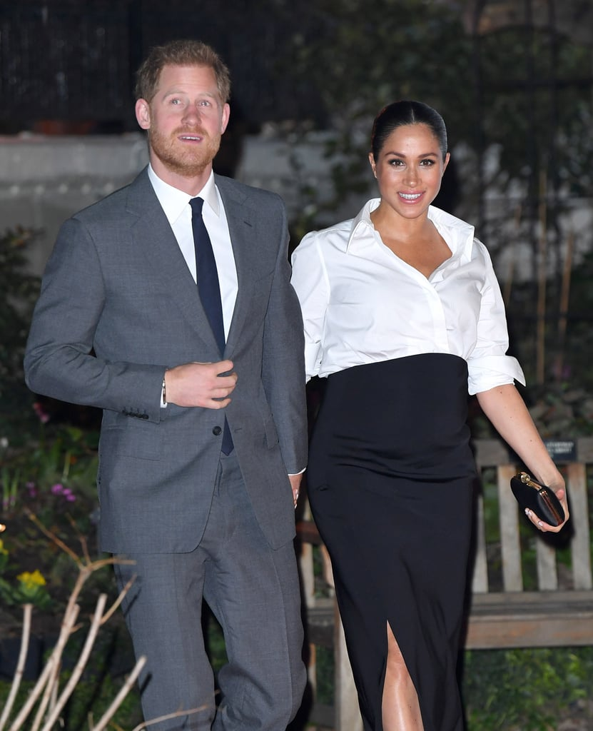 Meghan Markle's Black Aquazzura Heels With Gold Straps 2019