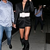 Kendall Jenner Slouchy Boots With Blazer Dress