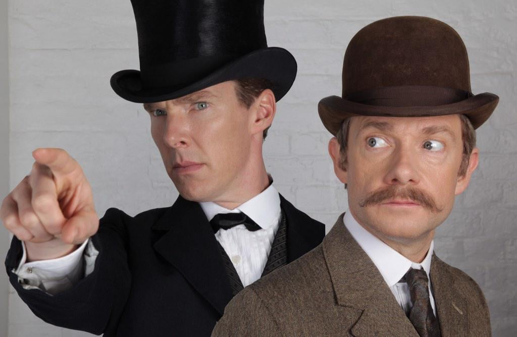 Get excited, Sherlock fans — the Christmas special may not be airing until 2015, but the creators of the show have shared a first look at both Benedict Cumberbatch (Sherlock Holmes) and Martin Freeman (John Watson) from the new episode. Sue Vertue, a producer on the show and wife of cocreator Steven Moffat, was the first to share teases of the upcoming special, including a shot of the draft script written by Moffat and his fellow cocreator, Mark Gatiss (aka Mycroft Holmes). According to reports, the cast and crew won't begin filming on the special until early January, and the episode itself won't air in the UK until Christmas Day 2015. However, the cast and crew will also be working on the highly anticipated fourth season through 2015, meaning that more new episodes should be hitting the airwaves in 2016.