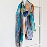 Anusha Painterly Blue and Grey Print Silk Scarf