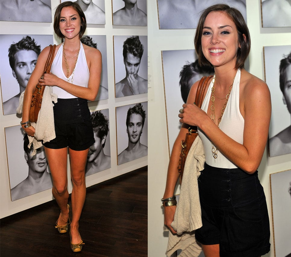 Jessica Stroup Attends an LA Party Wearing a White Halter Top and High-Waisted Black Shorts 2009-09-10 10:00:08