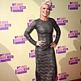 Pink posed on the red carpet at the VMAs.