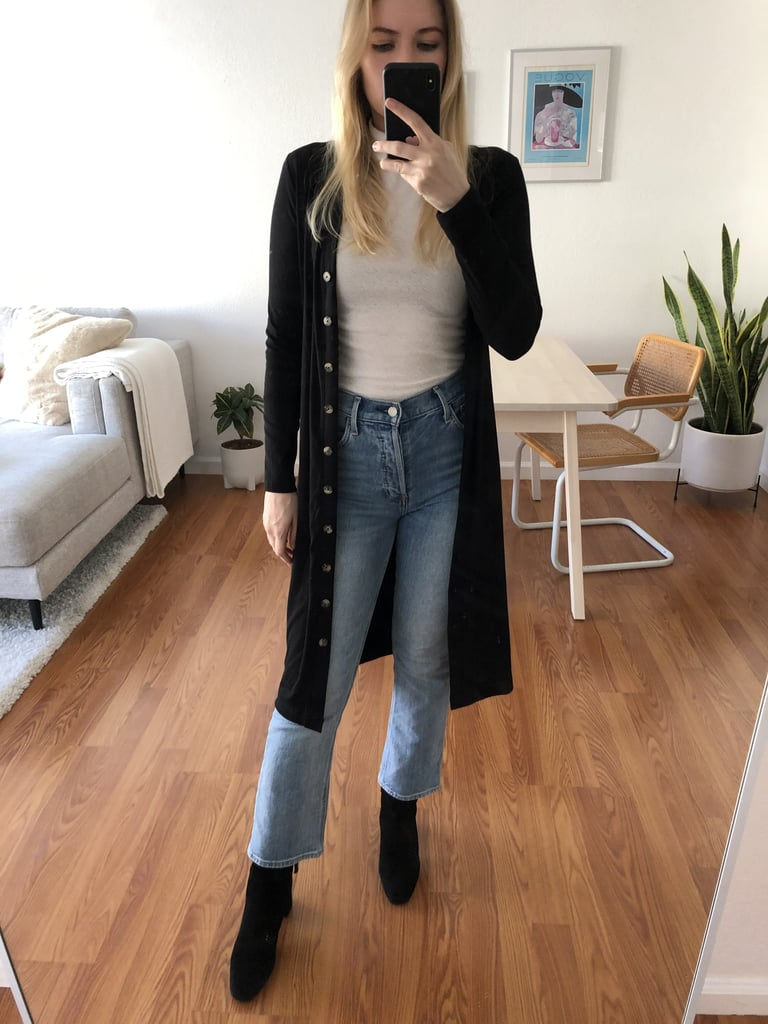 Styled with jeans and booties