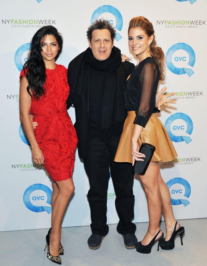 Camila Alves with Maria Menounos and Isaac Mizrahi at QVC's runway show.