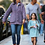 Katie Holmes laughed while out with Suri Cruise.