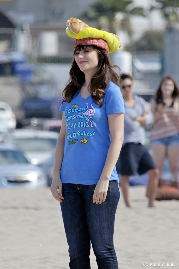 Zooey Deschanel got to work on set.