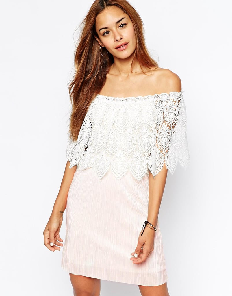 Oh My Love Scallop Lace Off-the-Shoulder Dress ($65)