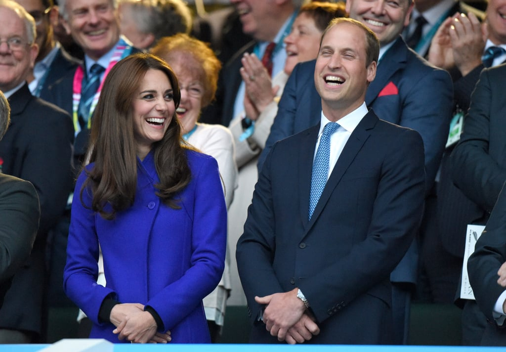 The Duke and Duchess of Cambridge cracked up together when they attended the 2015 Rugby World Cup in England on Friday. The royal couple sat together in the stands with Kate Middleton once again showing off her new hairdo after stepping out solo on Thursday. Prince Harry, serving as honorary president of England's rugby team, was also in attendance. He gave a moving speech to the crowd, while also putting some of his epic facial expressions on display in the stands. At one point, Kate was spotted leaning over to whisper something in Prince William's ear, making him smile and adding to their long list of sweet moments this year. Keep reading for all the best pictures of Will and Kate's sporty date, then check out all the times you could almost relate to the royal couple!