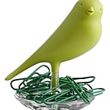 Qualy Nest Sparrow Paper Clip Holder - Green ($19) A sweet little desktop bird adds a bit of cheer and the promise of springtime during these March doldrums. This little guy also comes in other cheerful colors, like pink, yellow, and red.