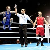 Irish boxer Michael Conlan jumped for joy after his win over Nordine Oubaali of France.