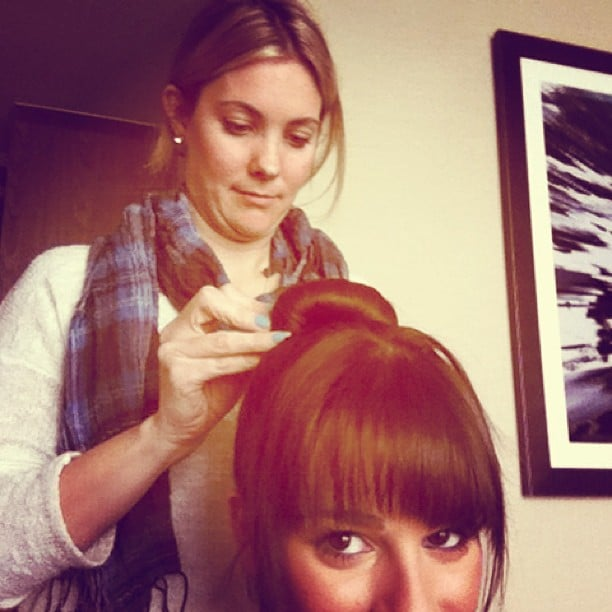 Lea Michele got a big-time bun with the help of stylist Sarah Potempa's Wrap Up tool.  Source: Instagram user msleamichele