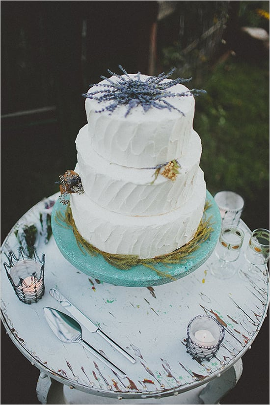 With lavender peeking out from the top, this charming white cake has all the potential to steal the show.
