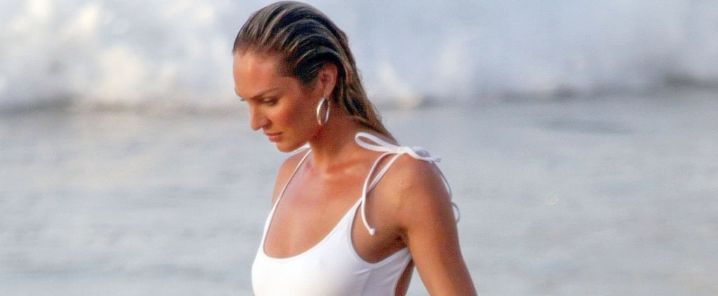 Candice Swanepoel's White One-Piece Swimsuit