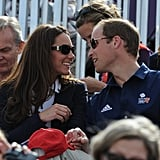 Kate Middleton and Prince William stole a sweet moment in the crowd during the Summer 2012 Olympics in London.