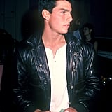 Tom Cruise looked cool in a black leather jacket in August 1985.