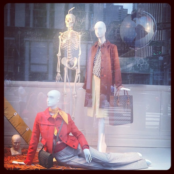 Chloé and Goyard took us back to school with this academic-themed window display at Bergdorf Goodman.