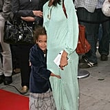 Ripley held tight to her mom on the red carpet in August 2006.
