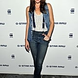 Liv Tyler worked her denim and suspenders at G-Star Raw.