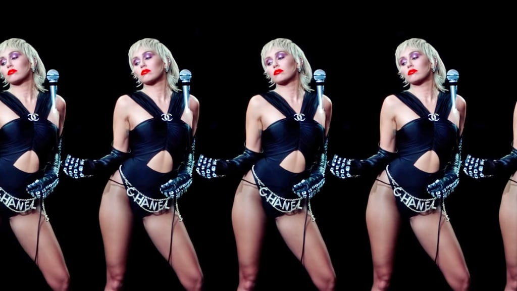 """Miley Cyrus's Designer Outfits in """"Midnight Sky"""" Music Video"""