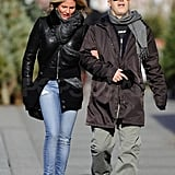 Cameron and a friend linked arms in Manhattan.