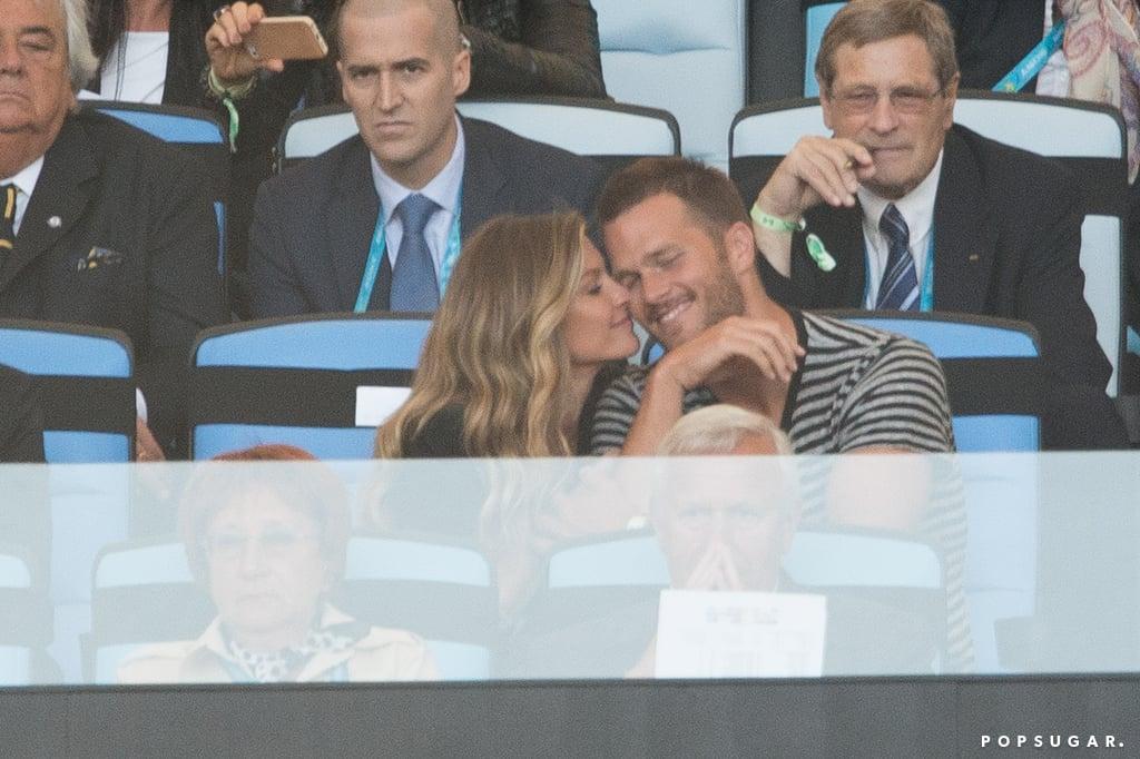 Gisele gave Tom Brady a nuzzle.