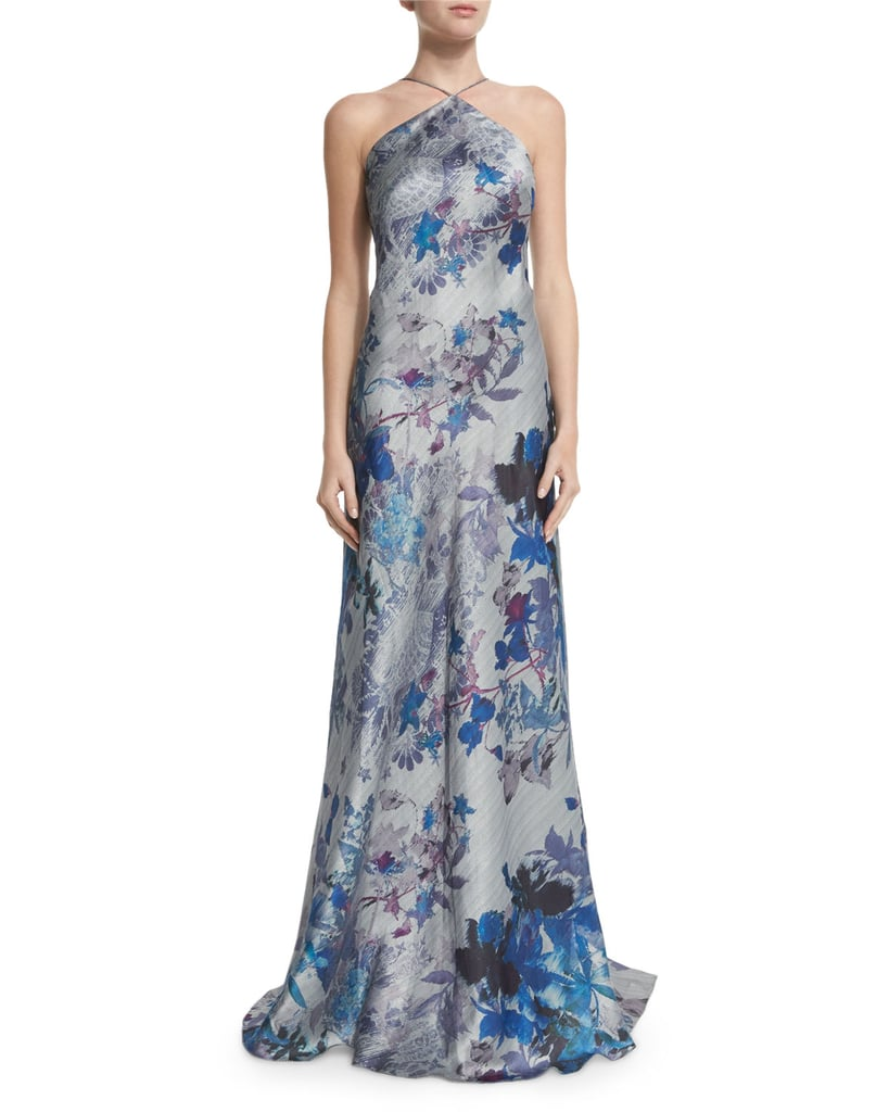 Theia Sleeveless Floral Print Gown