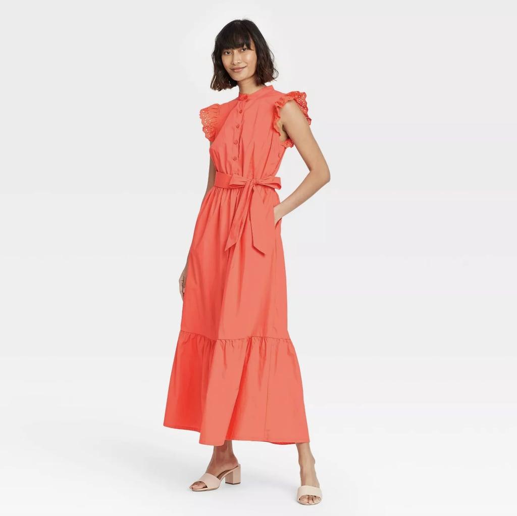 Who What Wear Ruffle Short Sleeve A-Line Dress