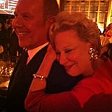 Bette Midler cuddled up to Michael Kors at the God Loves NYC bash. Source: Twitter user BetteMidler