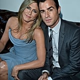 Jennifer Aniston cozied up to her fiancé, Justin Theroux, at a party to celebrate her new film in Canada.