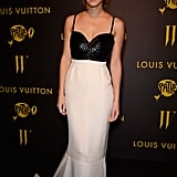 At The Bling Ring premiere during the Cannes Film Festival, Emma Watson donned a black and white gown featuring a bustier-style bodice.
