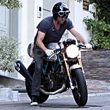 Ryan Reynolds rides his motorcycle in LA.
