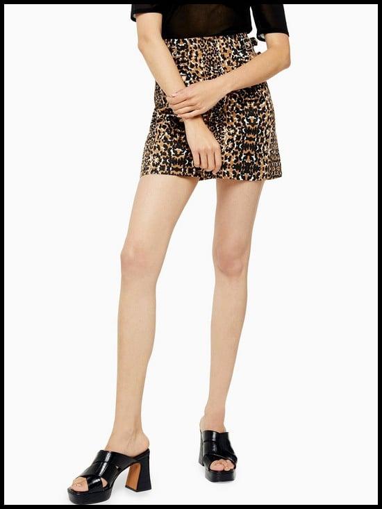 Topshop Leopard Double Buckle Denim Skirt