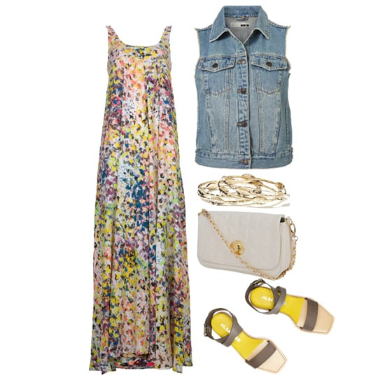 This breezy maxi dress would look great with a denim vest on top — just add a crossbody bag, flat sandals, and a stack of bangles for a sweet daytime look.