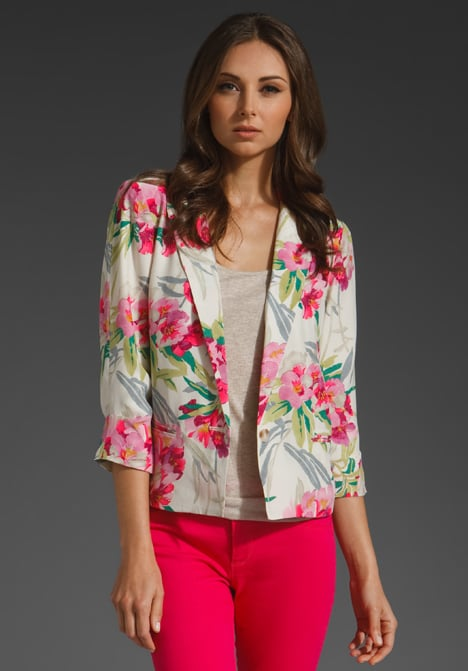Pretty and feminine, this floral blazer would look great over a little white dress.  Elizabeth and James Bruce Jacket ($395)