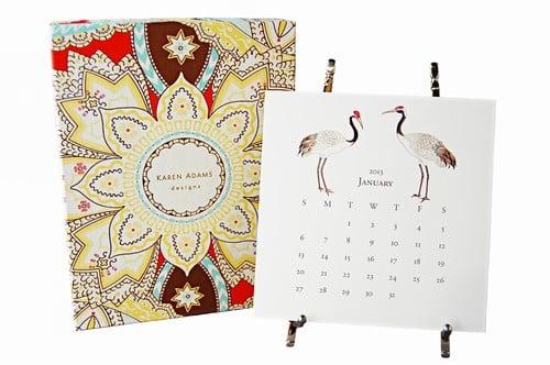 Karen Adams Desk Calendar With Silver Easel