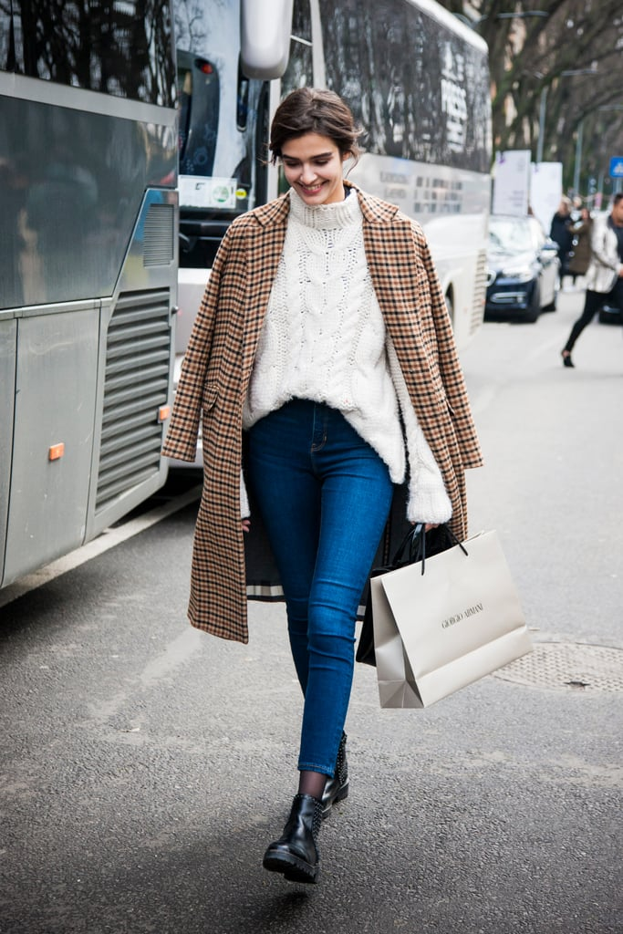 We love all the classics, especially when worn together. Try to style your skinnies with an oversize cable knit sweater and plaid coat for Fall.