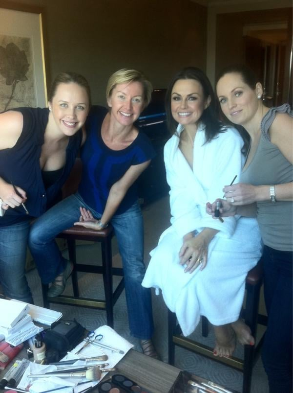 Channel Nine's Deborah Knight and Lisa Wilkinson got their makeup done.