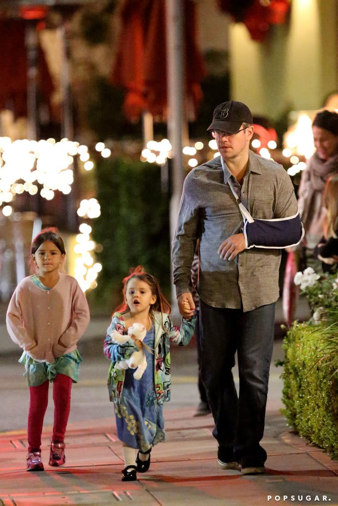 Matt Damon wouldn't let a little arm injury stand in the way of a pre-Christmas outing with his kids. The actor took his children out to dinner at Toscana in LA's Brentwood neighborhood on Sunday while sporting a rather serious-looking sling. It isn't clear how Matt injured his arm, but it probably wasn't from a movie set, as he has wrapped up most of his acting projects for the year.  However, Matt has been very busy working out production deals on new TV shows and movies with his best friend and business partner, Ben Affleck. The dynamic duo recently signed on to produce a new spec script from Matt's former writing partner and costar John Krasinski. There are few details about the new project, but it will be a good reunion for Matt and John, who cowrote and costarred in The Promised Land last year.